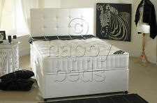 4ft6 DOUBLE Divan BED, STORAGE and Headboard with SEMI ORTHOPAEDIC MATTRESS