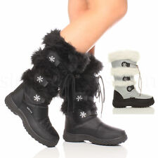 WOMENS LADIES ZIP PADDED WINTER SNOW FUR LINED SKI MOON CALF BOOTS SIZE