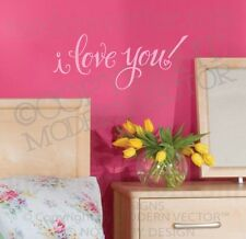 I LOVE YOU Quote Vinyl Wall Decal Lettering Sticker Love Nursery Valentines