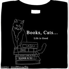 cat shirt, Cats & Books ... Life Is Good, T-Shirt, kitty kat, literary, smart