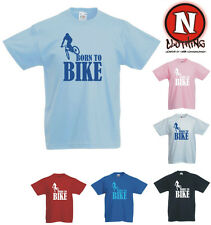Born to Bike mountain biking BMX cycling kids childrens T-shirt 3yrs upto 13yrs