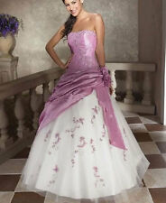 New beading Full length Evening Bridesmaid Prom Dress Size 6 8 10 12 14 16 18