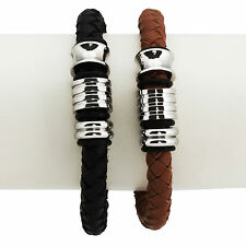 "8"" Mens Black or Brown Braided Leather Bracelet w/ Stainless Steel Rings & Clasp"