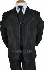 Boys 5pc Black Pinstripe Suit Wedding Pageboy Formal Wear 0-3 Mth - 14-15 Years