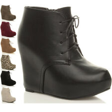 WOMENS LADIES HIGH HEEL WEDGE PLATFORM LACE UP ZIP ANKLE BOOTIES BOOTS SIZE