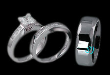 3pcs His Hers Tungsten & 925 Sterling Silver Wedding Engagement Ring Set