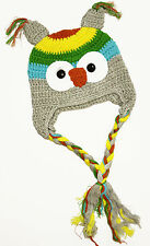 Kids Crochet Animal Owl Hat/Beanie-Grey