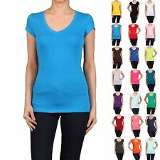 Basic V-NECK Short Sleeve Women/Juniors Solid Top Cotton T Shirt S-XL