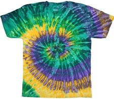 Multicolor Mardi Gras Tie Dye T-Shirts Youth XS to Adult XL. Check Description