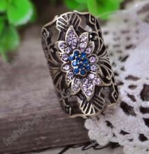 fashion antique bronze crystal flower ring