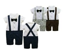 BOYS BABY GRO TUXEDO ROMPER SUIT BOW TIE WEDDING / 1st BIRTHDAY CHRISTMAS OUTFIT
