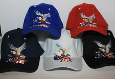 American Eagle Adjustable Baseball Hat Sports Cap with USA Flag color selection