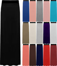 New Plus Size Womens Plain Stretch Elasticated Ladies Full Long Maxi Skirt 12-26