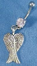 Angel Wings Double Silver 316L Surgical Steel Navel Belly Ring 14g CZ Made USA