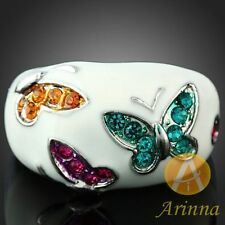 18k White Gold Plated butterfly white enamel Rings Rhinestone Swarovski Crystal