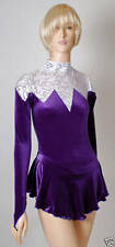 Skating Dress - White silver metalic design/ Purple Velvet - ALL SIZES AVAILABLE
