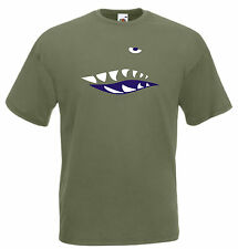 SHARK NOSE ART T-SHIRT WW2 RETRO FUSELAGE AIRCRAFT 15 COLS