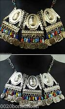 BELLY DANCE scarab necklace coins egyptian gypsy tribal silver & gold   102