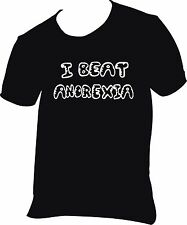 """Mens Tee T shirt Funny rude Black I BEAT ANOREXIA for larger men! Up to 50"""""""