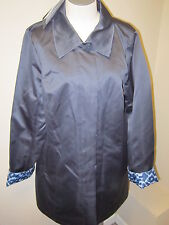 Dennis Basso Water Resistant Reversible Solid to Print Jacket NWT Navy