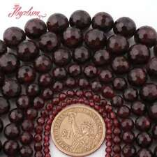 "Natural Garnet Faceted Round Gemstone Loose Beads 15"" 3mm 4mm 6mm 8mm 10mm"