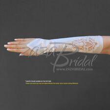 Shiny Satin Fingerless Gloves w/ Floral Embrodiery Lace, Sequins & Pearl Accent