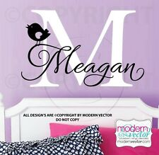MONOGRAM Personalized Name Vinyl Wall Decal Sticker Girls Nursery WITH GRAPHIC