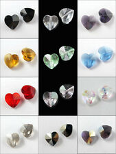 10Pcs Glass Crystal Heart Spacer Bead 12Colors-1 14mm R323