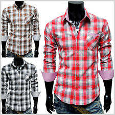 (CHS7) THELEES Mens Casual Stylish Long Sleeve Stripe Patch Checker Shirts