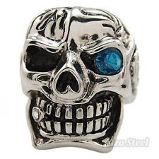 Men's Big Silver Skull Blue Eye CZ Cigar Biker Stainless Steel Ring Size 8-15