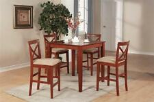 3PC PUB SET SQUARE COUNTER HEIGHT TABLE WITH 2 UPHOLSTERED STOOL IN CHERRY BROWN