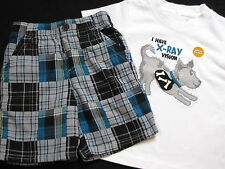 NWT Gymboree Spy Guys Set 3 6 18 24 m Patchwork Plaid Shorts XRay Puppy TShirt
