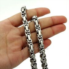 8mm Boys Mens Chain Silver Tone Byzantine Box Link Stainless Steel Necklace HOT