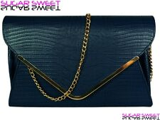 Large Navy Blue Leather Style Snakeskin Clutch Bag Evening Snake Skin Handbag