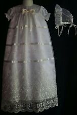 Baby Girl  Embroidered Organza  Christening Gown Baptism Dress 0-3 3-6 6-12 M