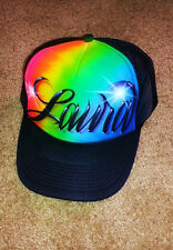 Airbrush Trucker Hat Rainbow Colors Name, Airbrush Trucker Hat, Trucker Hat