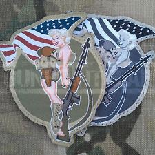 Mil-Spec Monkey Velcro Morale Patch BAR Girl Multicam MTP UK USA Pinup