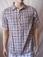 New GUESS Mens Pink Plaid Casual S/S Button Front Woven Scotch Shirt Top $69