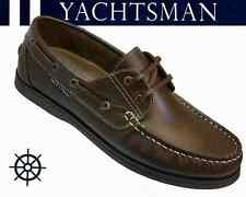 MENS BROWN REAL LEATHER DECK BOAT YACHT SHOES YACHTSMAN by COOLERS SIZE 7-14 NEW