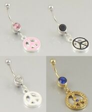 Peace sign navel bar belly button ring 316L stainless steel body jewellery