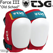 "TSG Force III ""Old School"" Ramp Knee Pads Skateboard Red/Wht/Blue Roller Derby"
