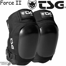 "TSG ""Force II"" Black Ramp Knee Pads Skateboard  Roller Derby Vert Pool Park"