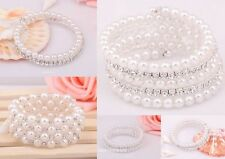 Fashion Wedding Jewelry White Pearl With Glass Crystal Bracelet You Pick Style