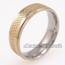 Unisex Elegant Silver Gold Tone Stainless Steel Wedding Band Ring Size 5 to 11