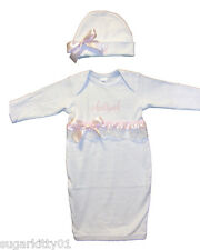 Personalized Infant Gown & Hat Set White Monkey or U Pick Design Free Shipping