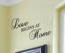 Wall Decal Sticker Quote Vinyl Art Lettering Love Begins at Home Family H11