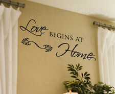 Wall Decal Quote Sticker Vinyl Art Lettering Love Begins at Home Family F16