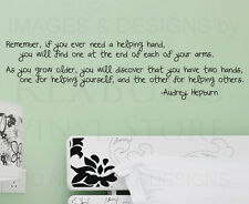 Wall Sticker Decal Quote Vinyl Art Hands for Helping Others Audrey Hepburn J97