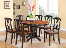 5-PC OVAL DINETTE KITCHEN DINING SET TABLE w/ 4 WOOD SEAT CHAIRS IN BLACK CHERRY