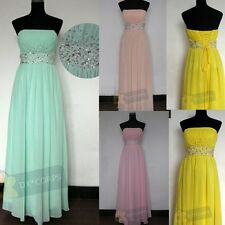 Gorgeous Beaded Strapless Long Party Evening Bridal Gowns Bridesmaid Dresses